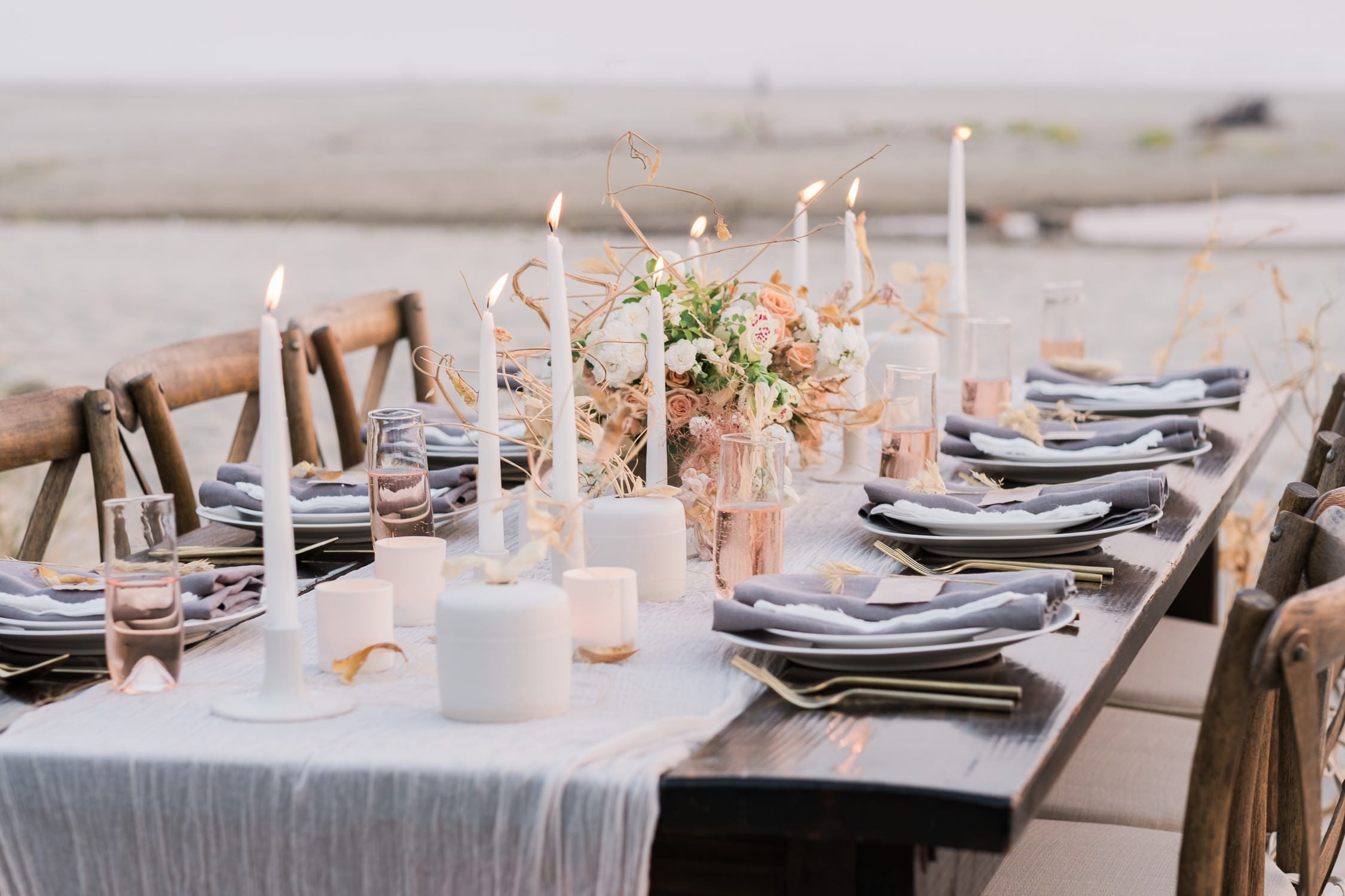 Style Inspiration table setting wedding oregon coast