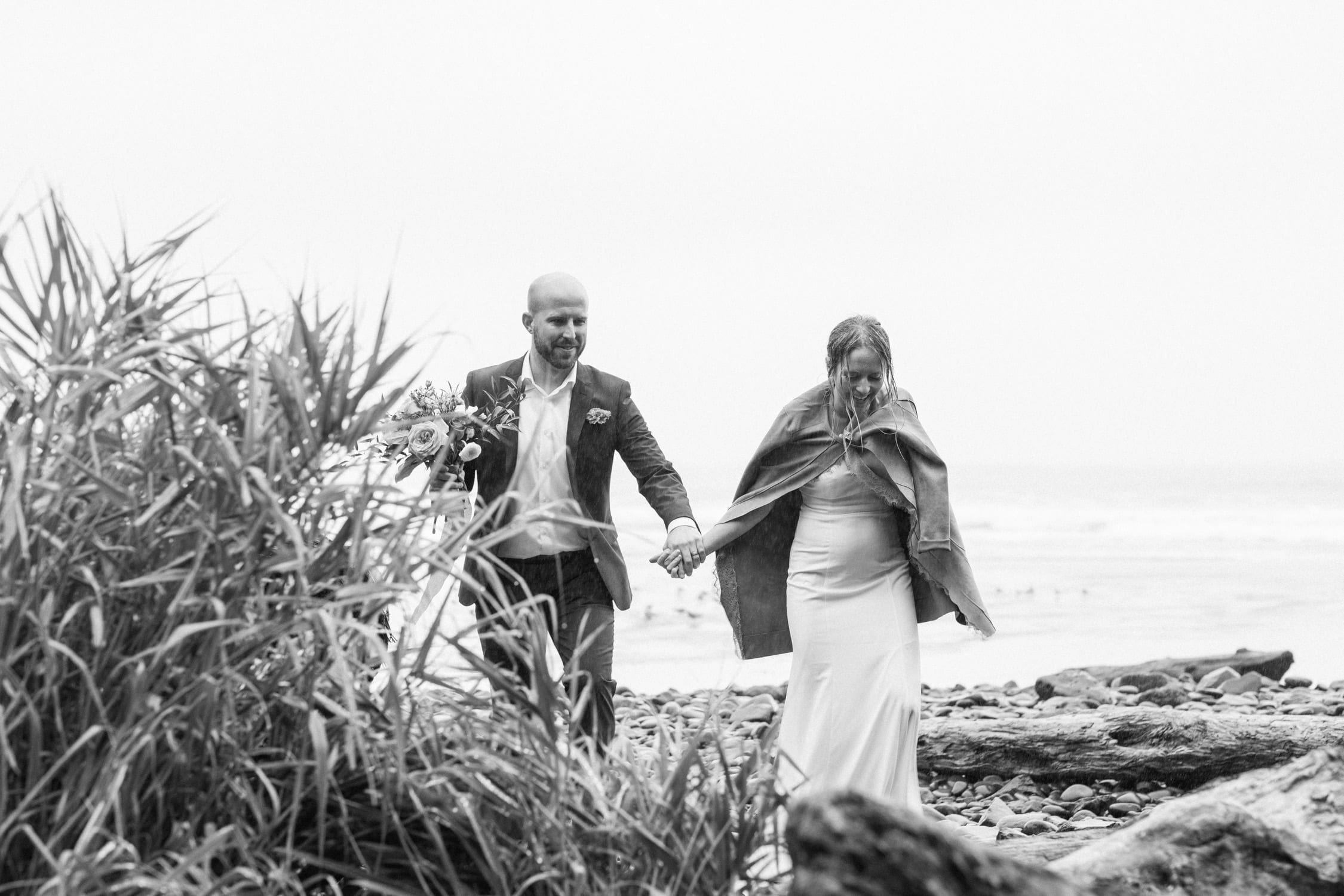 small beach Oceanside Oregon elopement